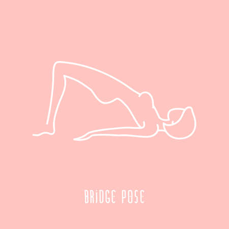 girl lying studio: Yoga pose flat line icon, simple sign of woman in bridge pose, white outline icon isolated on pink - vector asana for vishuddha chakra, design elements for yoga and meditation school