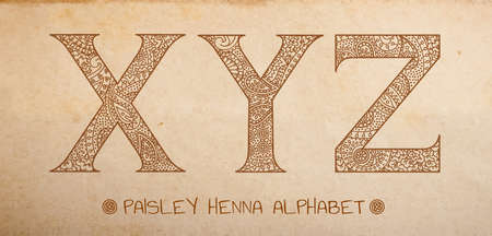 Paisley henna alphabet, vector uppercase ornated letters on realistic old parchment background - x,y,z