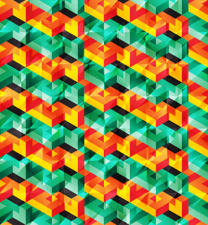 psychodelic: Vector lowpoly isometric geometric pattern with shiny glitch effect