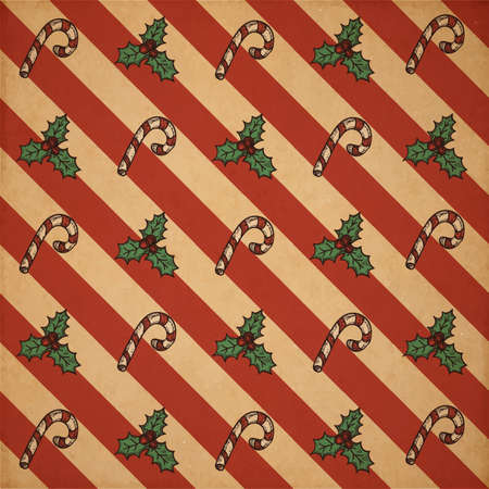 realictic: Retro vector Christmas scrapbooking pattern on old realictic cardboard parchment Illustration