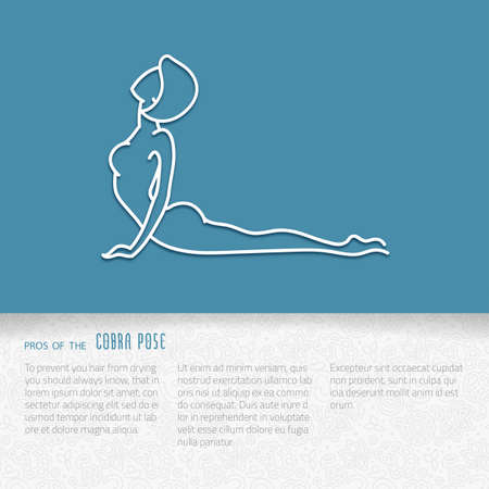 girl lying studio: Yoga pose flat line icon, vector design of advertising booklet mockup - woman in cobra pose, white outline logo with side shadow, ornate folded paper brochure with paisley pattern and copy space for yoga and meditation spa school or center Illustration