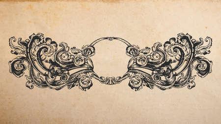 artnouveau: Vintage old paper texture with Renaissance ancient vignette ornament, hand drawn swirls decoration in old engraving style, copy space emblem