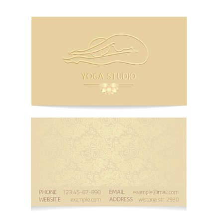 aristocratically: Yoga themed business card template - gold silk print of front and back sides - woman silhouette in yoga pose, lotus and paisley ornament with copy space