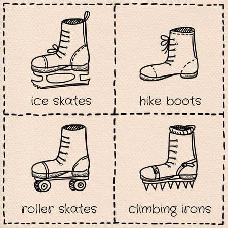 grappling: Vector sport shoes doodle set on paper