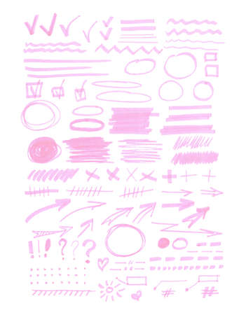 bulk: Vector bulk collection of transparent highlighter marks, pink marks isolated on white