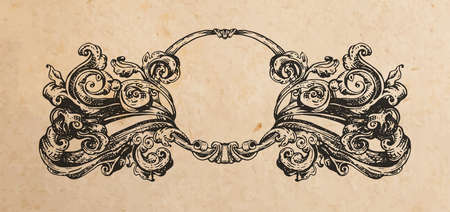 artnouveau: Vintage old paper texture with victorian vignette ornament, hand drawn swirls decoration in old engraving style, copy space emblem Illustration