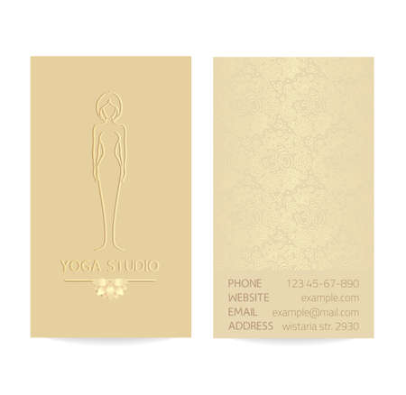Yoga themed vertical business card template - gold silk print of front and back sides - woman silhouette in yoga pose, lotus and paisley ornament with copy space
