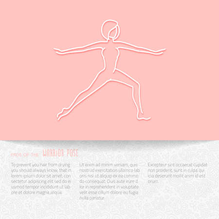 warrior pose: Yoga pose flat line icon, vector design of advertising booklet mockup - woman in warrior pose, white outline logo with side shadow, ornate folded paper brochure with paisley pattern and copy space for yoga and meditation spa school or center Illustration