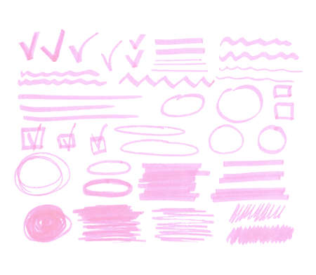 bulk: Vector bulk collection of one color transparent highlighter marks, gentle pink isolated on white