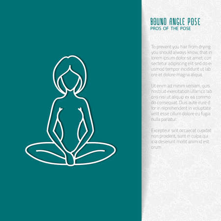 bound woman: Yoga pose flat line icon, vector design of advertising booklet mockup - woman in bound angle pose, white outline logo with side shadow, ornate folded paper brochure with paisley pattern and copy space for yoga and meditation spa school or center