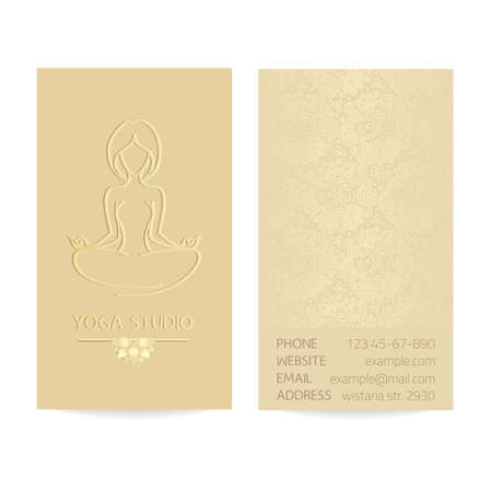Yoga themed business card template - gold silk print of front and back sides - woman silhouette in yoga pose, lotus and paisley ornament with copy space