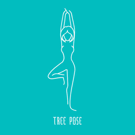 yoga asana tree pose: Yoga pose flat line icon, simple sign of woman in tree pose, white outline logo isolated on blue green - vector asana, design elements for yoga and meditation spa school or center