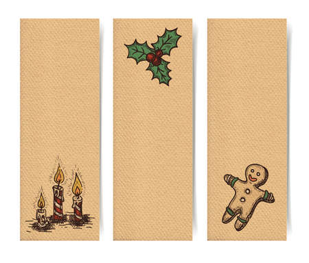 christmas backdrop: Christmas vector vertical banners set, vintage drawings style on realistic parchment brown paper background