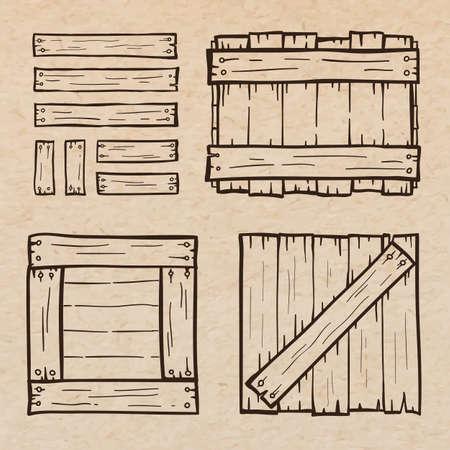 Set of wooden box doodles, scrapbook paper background Ilustração