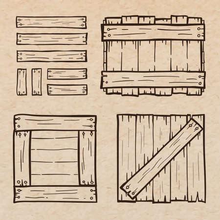 scrapbook paper: Set of wooden box doodles, scrapbook paper background Illustration