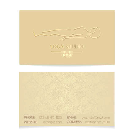disegni cachemire: Yoga themed business card template - gold silk print of front and back sides - woman silhouette in yoga pose, lotus and paisley ornament with copy space