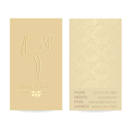aristocratically: Yoga themed vertical business card template - gold silk print of front and back sides - woman silhouette in yoga pose, lotus and paisley ornament with copy space