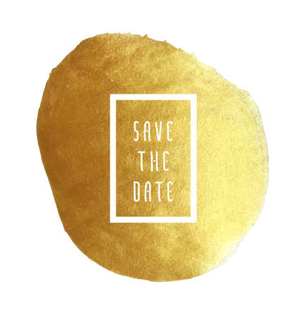 Save the date vector template for cards, hand drawn golden foil background brush stroke - invitations, posters, cards template - brush strokes and flat line typographic elements. Banco de Imagens - 49544568