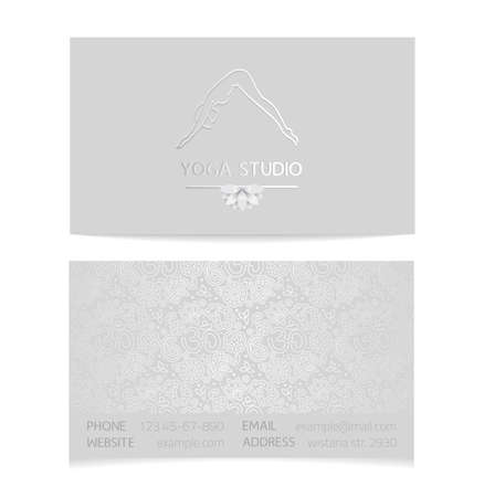 aristocratically: Vector silver horizontal business card template - gray silk print of front and back sides - lotus, yoga pose, woman body and paisley ornament with copy space