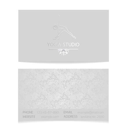 Vector silver horizontal business card template - gray silk print of front and back sides - lotus, yoga pose, woman body and paisley ornament with copy space