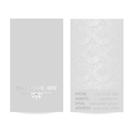 Vector silver vertical business card template - gray silk print of front and back sides - lotus and paisley ornament with copy space Illustration