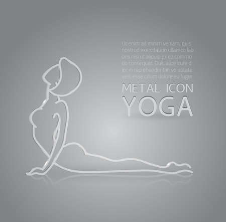glass reflection: Vector illustration of metal or glass yoga icon, 3D effect, reflection, shadow and shining texture - woman in asana, fitmess sport logo for web or design Illustration