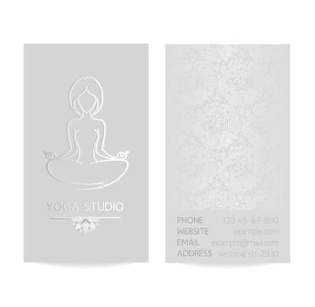 silver silk: Vector silver vertical business card template - gray silk print of front and back sides - lotus, yoga pose, woman body and paisley ornament with copy space Illustration