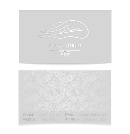 silver silk: Vector silver horizontal business card template - gray silk print of front and back sides - lotus, yoga pose, woman body and paisley ornament with copy space