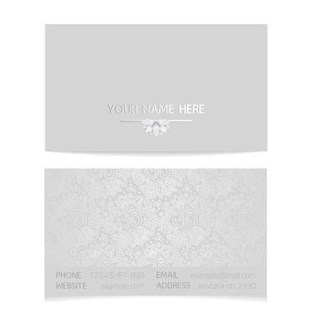 aristocratically: Vector silver horizontal business card template - gray silk print of front and back sides - lotus and paisley ornament with copy space