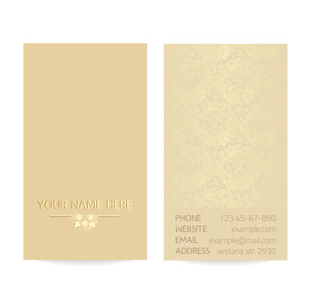 aristocratically: Vector golden vertical business card template - gold silk print of front and back sides - lotus and paisley ornament with copy space Illustration