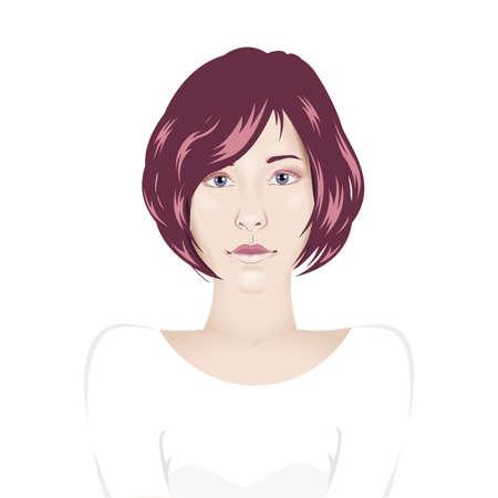 white blouse: Vector girl portrait in plain white blouse shirt with short hair - avatar female portrait