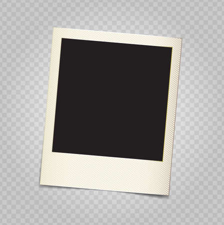 Vector paper photo frame in retro style with transparent shadows on demonstrative grid, copy space and place for custom shot