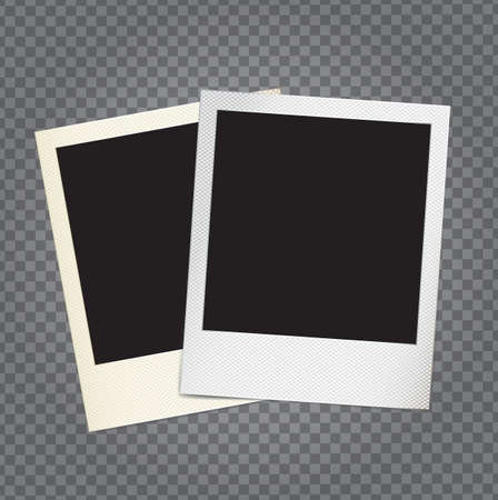 scrap: Vector paper photo frame in retro style with transparent shadows on demonstrative grid, copy space and place for custom shot