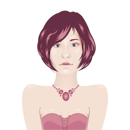 quarz: Vector girl portrait in evening gown with short hair - avatar female portrait
