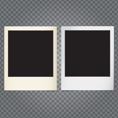 demonstrative: Vector paper photo frame in retro style with transparent shadows on demonstrative grid, copy space and place for custom shot