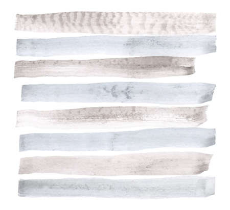 Vector watercolor abstract background, stylish horizontal stripes in gray and blue colors brush strokes Illustration