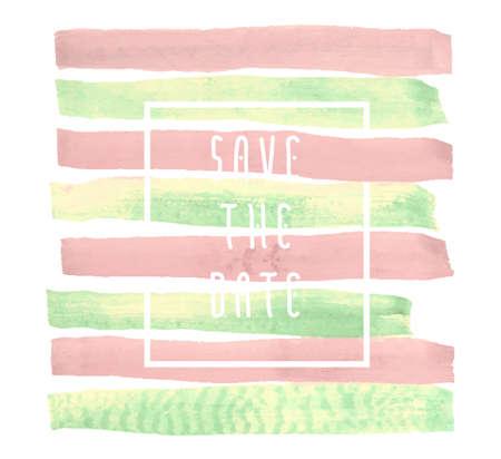 Save the date-Vektor-Hintergrund für Karten, Hand gezeichnet Aquarell Pinsel horizontale Striche - Einladungen, Plakate, Karten-Vorlage - Pfirsich rosa und gelb grünen Streifen und flache Linie typografische Elemente. Standard-Bild - 55603460