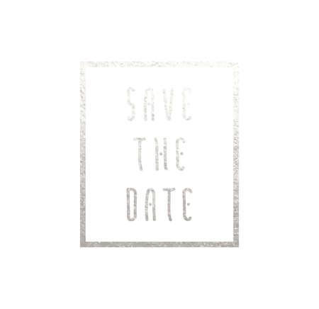 Vector template of save the date celebration invitation card - metallic font on white background