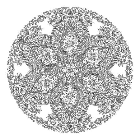 Vector mandala rosette isolated on white. Floral medieval ornament wor coloring and decoration Vettoriali