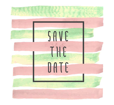 quarz: Save the date vector background for cards, hand drawn watercolor paint brush horizontal strokes - invitations, posters, cards template - peach pink and yellow green stripes and flat line typographic elements.