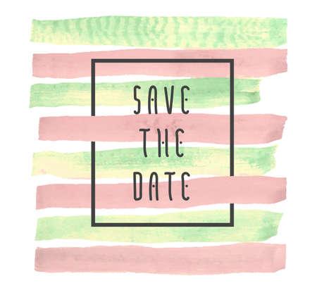 Save the date-Vektor-Hintergrund für Karten, Hand gezeichnet Aquarell Pinsel horizontale Striche - Einladungen, Plakate, Karten-Vorlage - Pfirsich rosa und gelb grünen Streifen und flache Linie typografische Elemente. Standard-Bild - 57466763