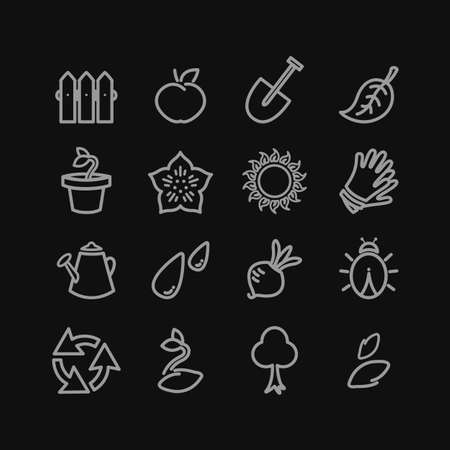 vermin: Vector gardening flat lineart icons set Illustration