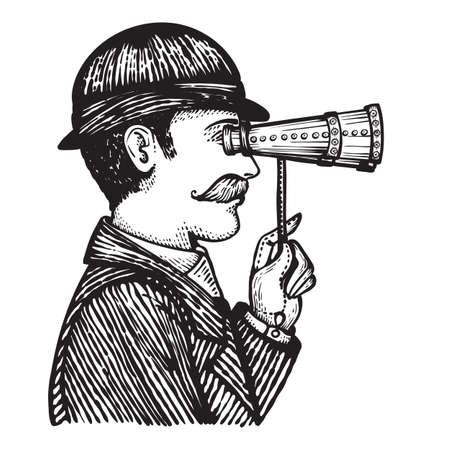 Ilustración del vector de la vendimia grabado hombre mirando a través de binoculares - ilustración dibujados a mano aislado en blanco Ilustración de vector
