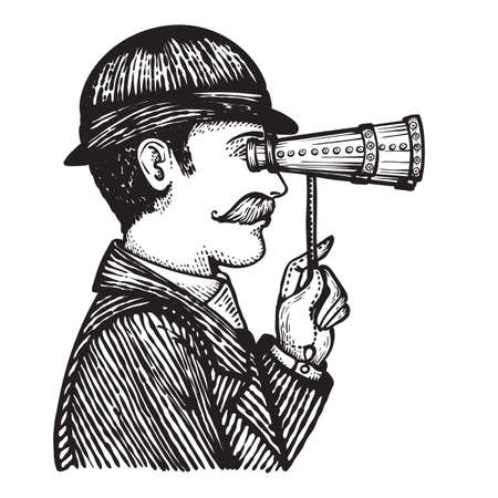 Vector illustration of engraved vintage man looking through binoculars - hand drawn illustration isolated on white Vectores