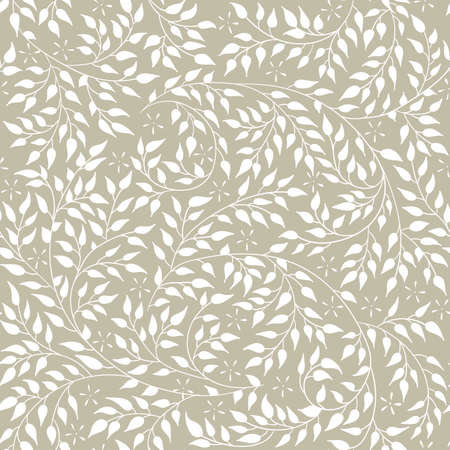 artnouveau: Floral seamless pattern - vector illustration of detailed white ornament of plant twigs and curled branches on olive background