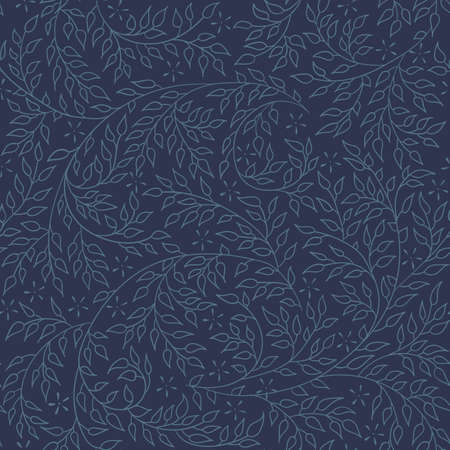artnouveau: Floral seamless pattern - vector illustration of detailed blue ornament of plant twigs and curled branches