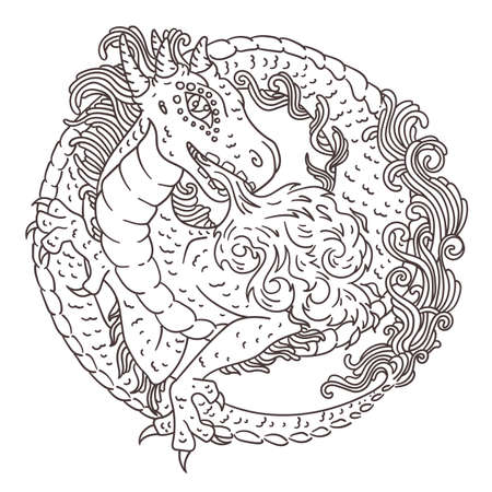 Vector illustration of chinese, european or japanese dragon with hornes and fire - round circle ornate rosette with scale, hair and other water and air elemental dragon features.