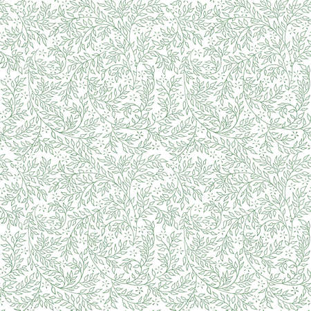 artnouveau: Floral seamless pattern - vector illustration of detailed green ornament of plant twigs and curled branches