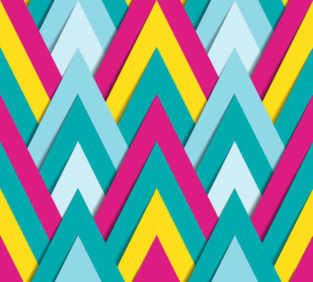 70s: Vector seamless pattern - geometric bright background made of paper triangles with shadow in funky style of 70s