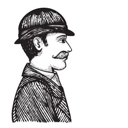 bowler hat: Vector illustration of vintage engraved man in bowler hat and coat isolated on white, hand drawn clip art.